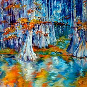 Tree Painting - CYPRESS TREES ALONG The BAYOU by Marcia Baldwin