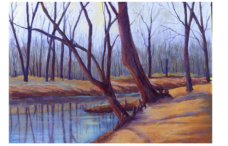 Landscape Painting - Cypress Trees by MaryAnn Stafford