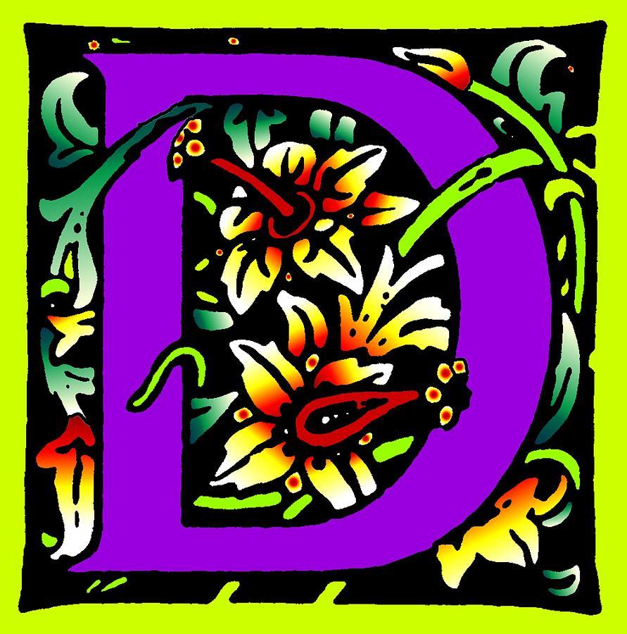Alphabet Digital Art - D In Purple by Kathleen Sepulveda