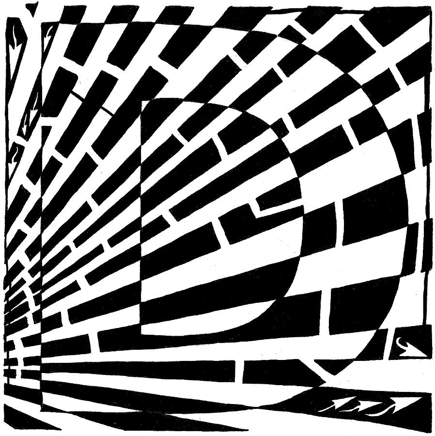 Maze Drawing - D Maze by Yonatan Frimer Maze Artist