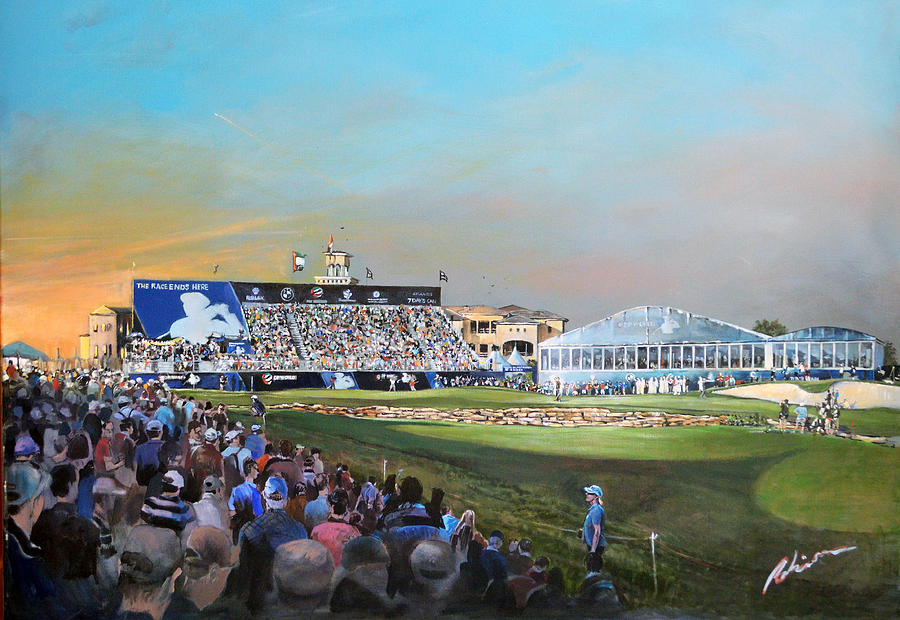 Race To Dubai Painting - D P World Tour Championship 2013 by Mark Robinson