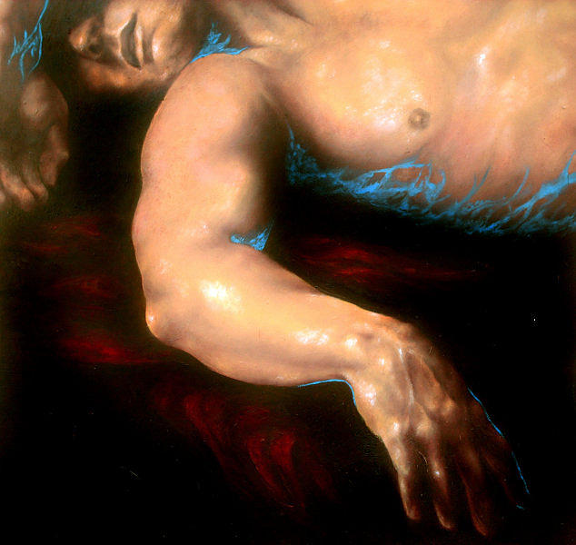 Portrait Painting - D. Sleeping Detail 1  by Eszter Csaki