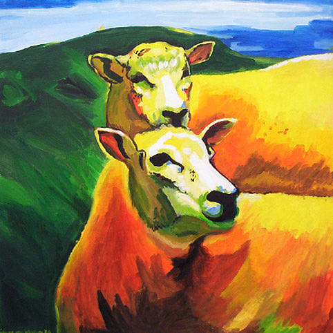 Sheep Painting - D189 Sheep 7 by Connie Van Winssen