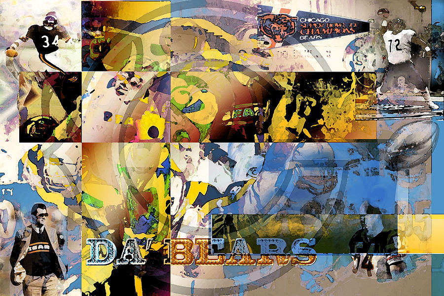 Chicago Bears Digital Art - Da Bears V3 by Jimi Bush