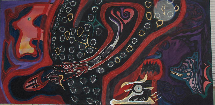 Abstract Painting - Da Croc by Oscar Zepeda