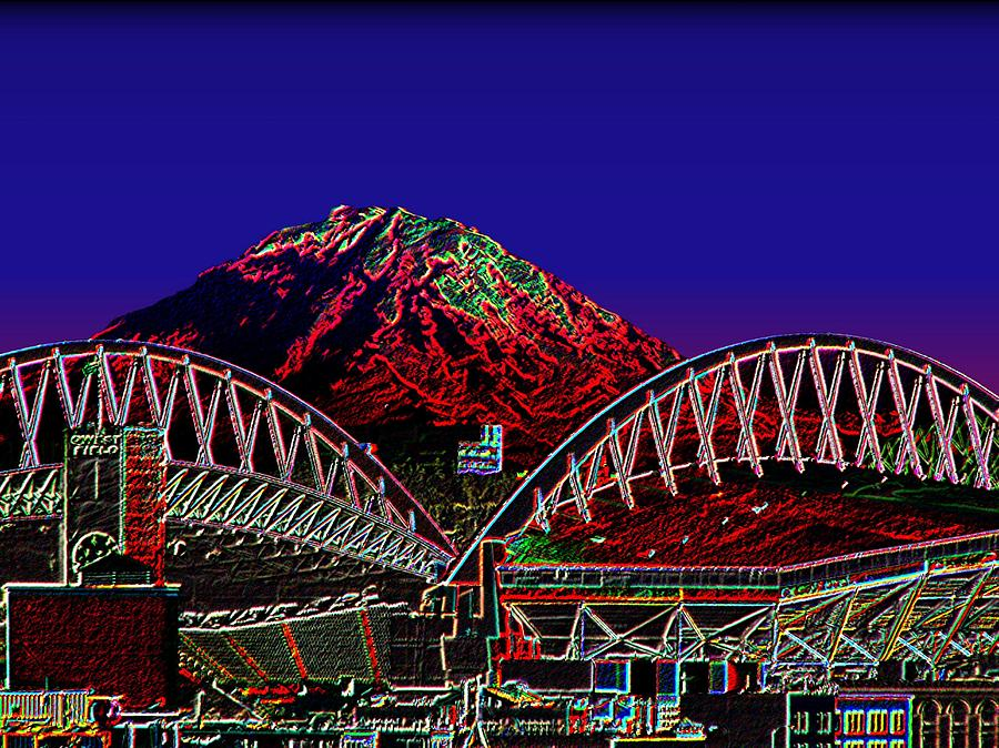 Seattle Photograph - Da Mountain and Stadia 3 by Tim Allen