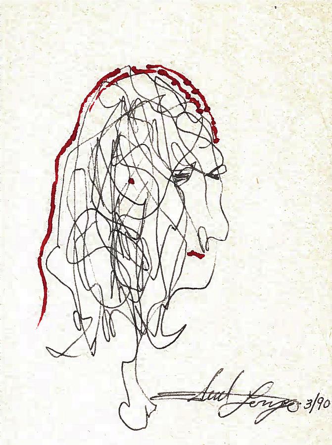 Acrylic Paint Drawing - Da Vinci Drawing by Edward Longo