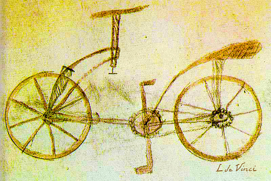 Leonardo Da Vinci Painting - Da Vinci Inventions First Bicycle Sketch By Da Vinci by Tony Rubino