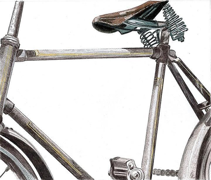 Bicycle Drawing - Dads Bike by Glenda Zuckerman