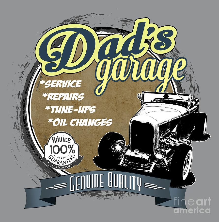 Dad's Digital Art - Dads Garage-32 Ford by Paul Kuras