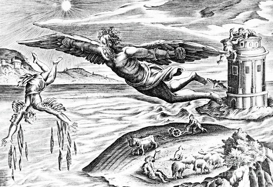 Icarus Drawing - Daedalus Escaping From Crete With His Son, Icarus, Sees Him Falling To His Death by French School
