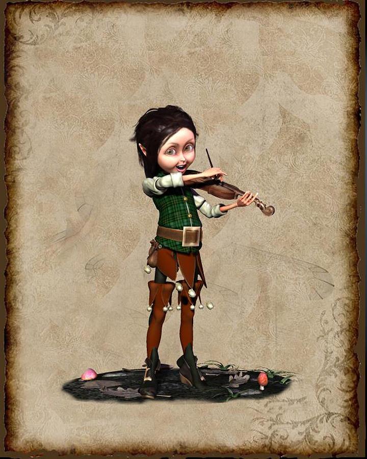 Daenes - Elf playing the violin Digital Art by John Junek