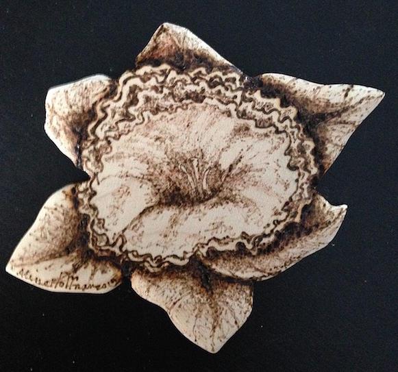 Daffodil Pyrography - Daffodil by Aline Hoffman