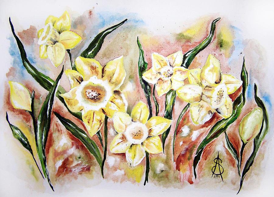 Floral Painting - Daffodil Drama by Amanda  Sanford