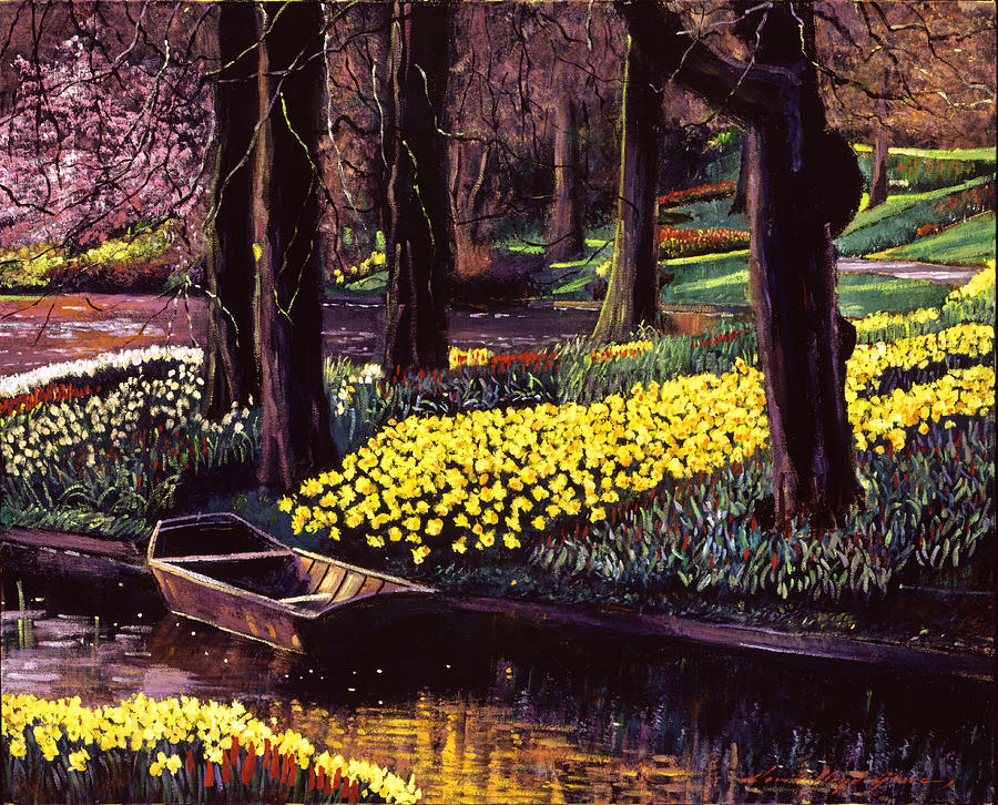 Parks Painting - Daffodil Park by David Lloyd Glover