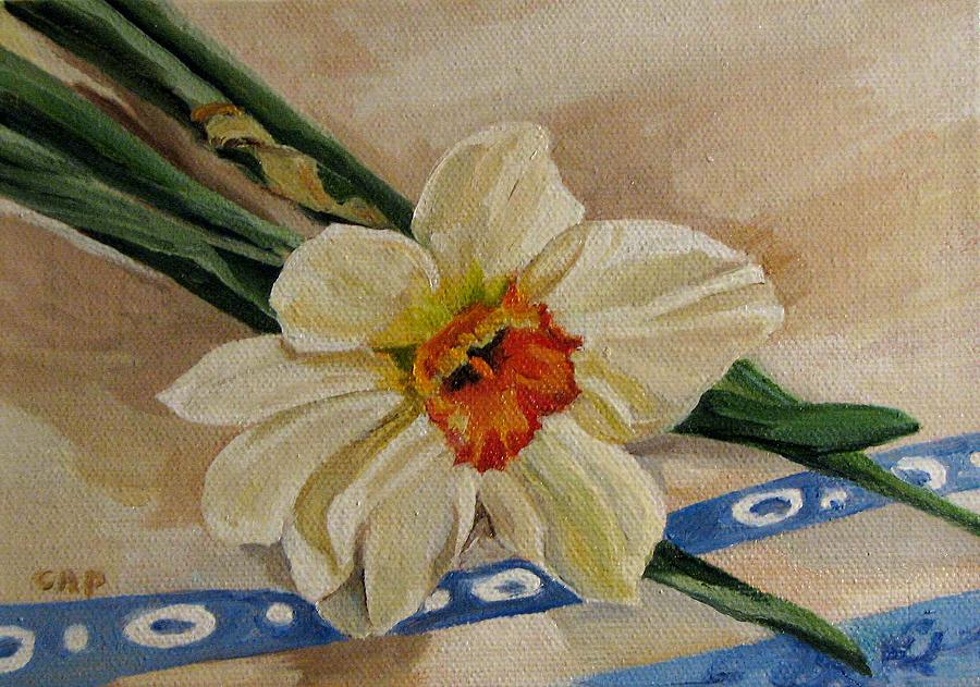 Flowers Painting - Daffodil Reclining by Cheryl Pass