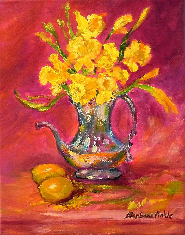 Still Life Painting - Daffodils And Teapot by Barbara Pirkle