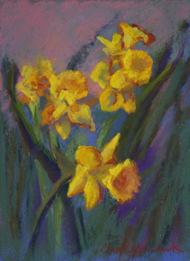 Flower Painting - Daffodil Breeze by Cheryl Yellowhawk