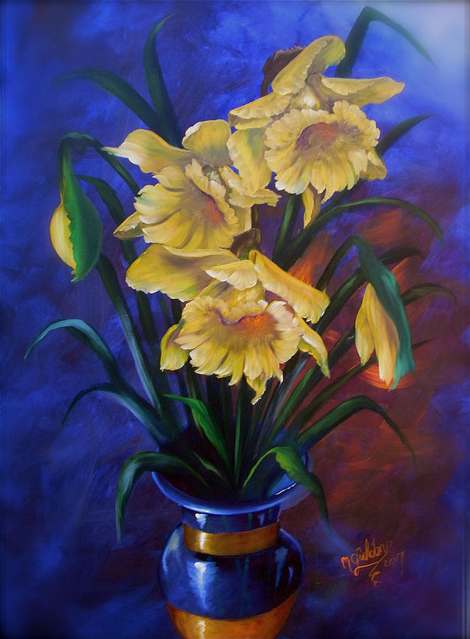 Daffodils In Cobalt Vase Painting by Micheal Giddens