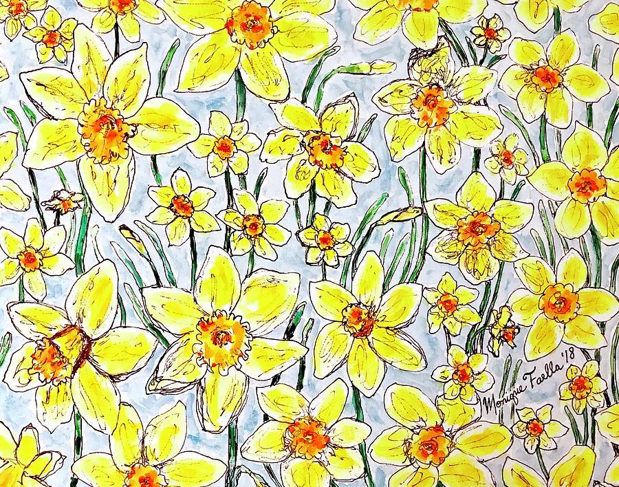 Daffodil Painting - Daffodils by Monique Faella
