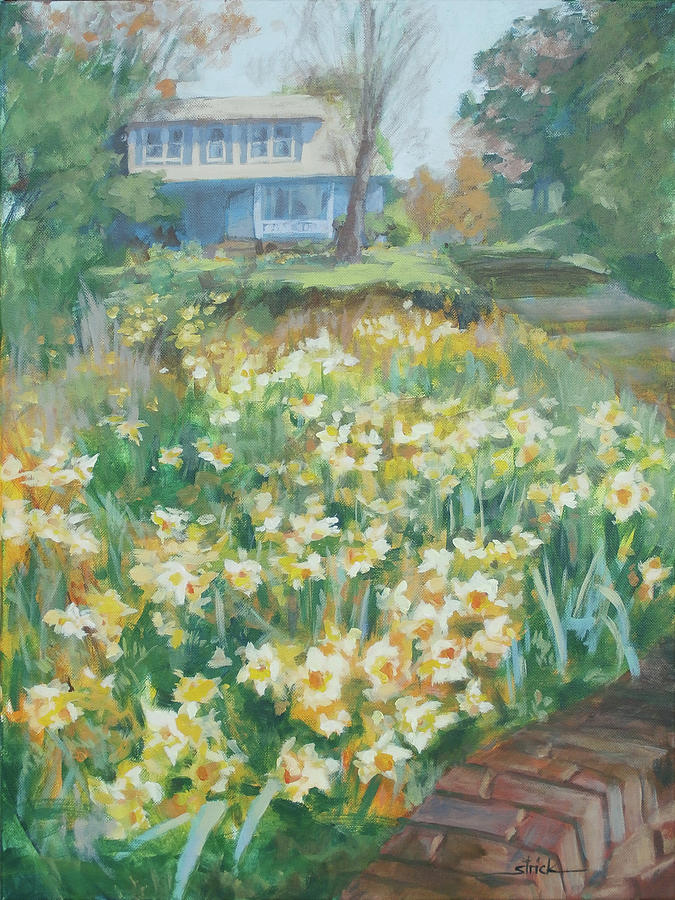 Wild Flowers Painting - Daffodils on the Corner by Carol Strickland