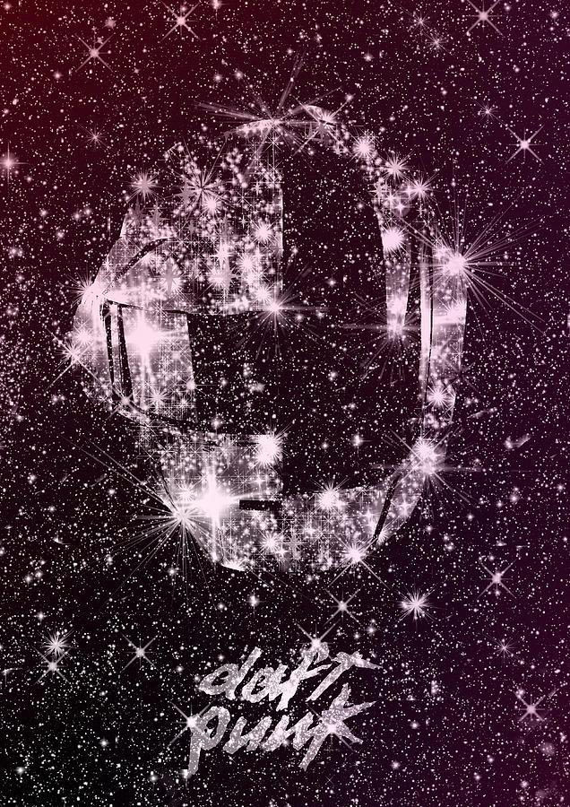 Disco Digital Art - Daft Punk poster helmets print Space stars random access memories disco retro digital print by IamLoudness Studio