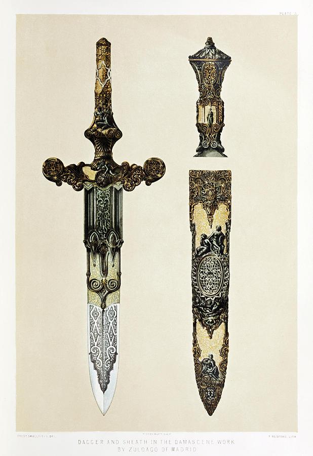 Wyatt Drawing - Dagger And Sheath by Sir Matthew Digby Wyatt