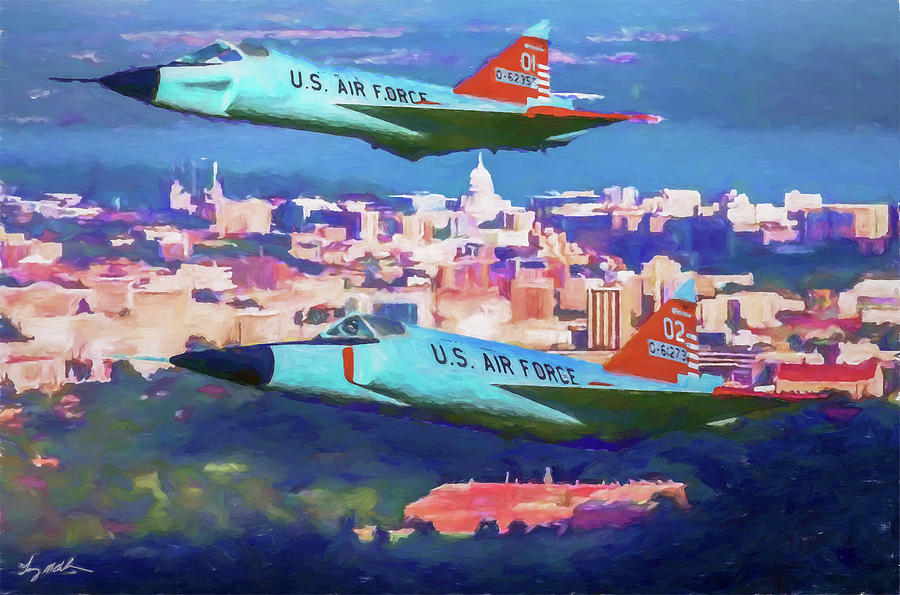Convair F-102 Delta Dagger Digital Art - Daggers Over Madison In Oil by Tommy Anderson