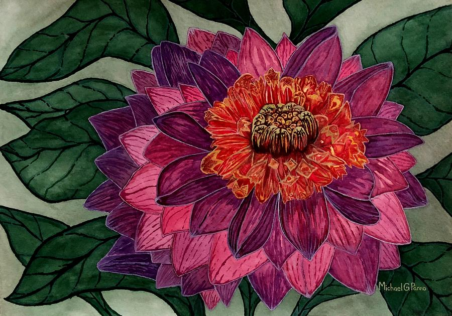 Purple Dahlia Flower Painting