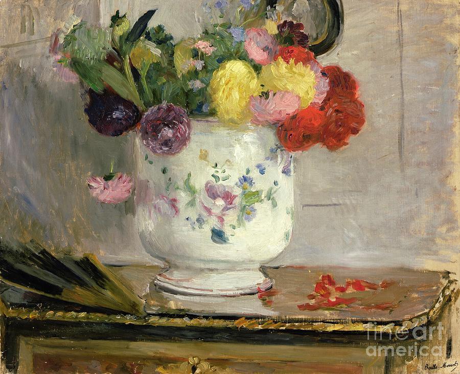 Vase Painting - Dahlias by Berthe Morisot