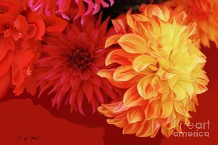 Dahlia Painting - Dahlias by Corey Ford