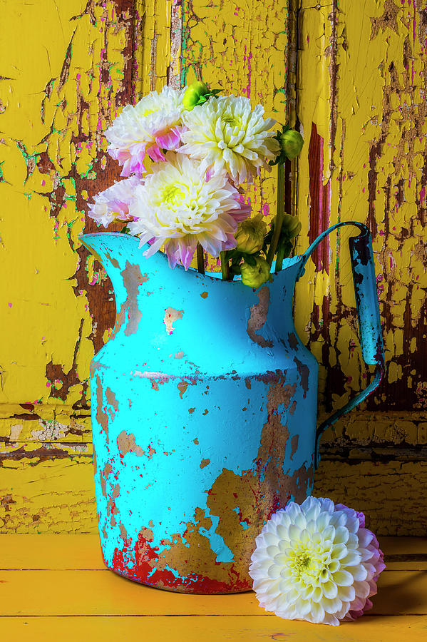 Color Photograph - Dahlias In Old Blue Pitcher by Garry Gay