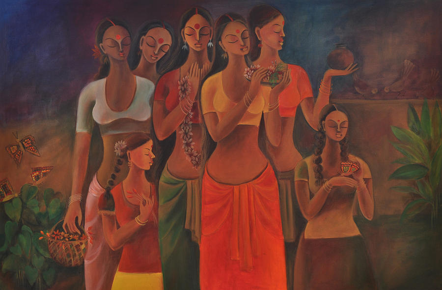 Figuration Painting - Daily Rituals by Manisha Raju