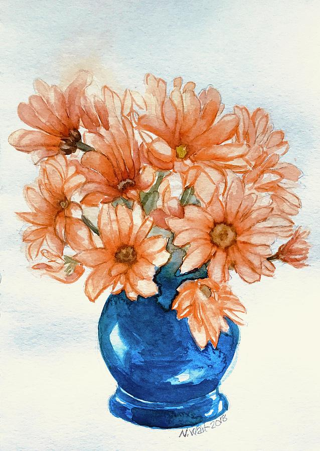 Daises in Blue Vase A by Nancy Wait