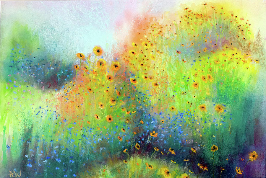 Pastel Pastel - Daisies And Cornflowers by Philip Lodwick Wilkinson
