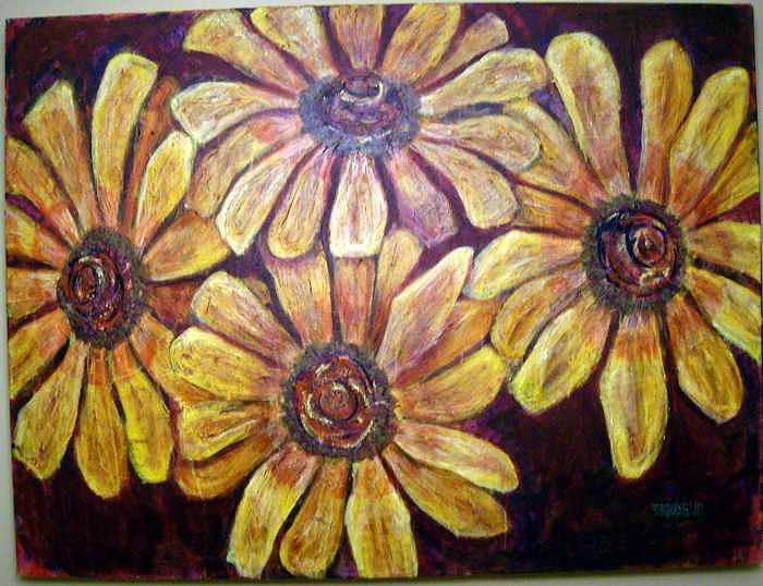 Daisies Painting by Don Thibodeaux