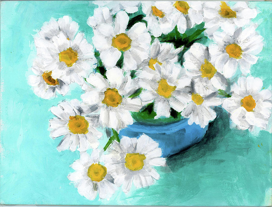 Daisies in Blue Bowl by Debbie Brown