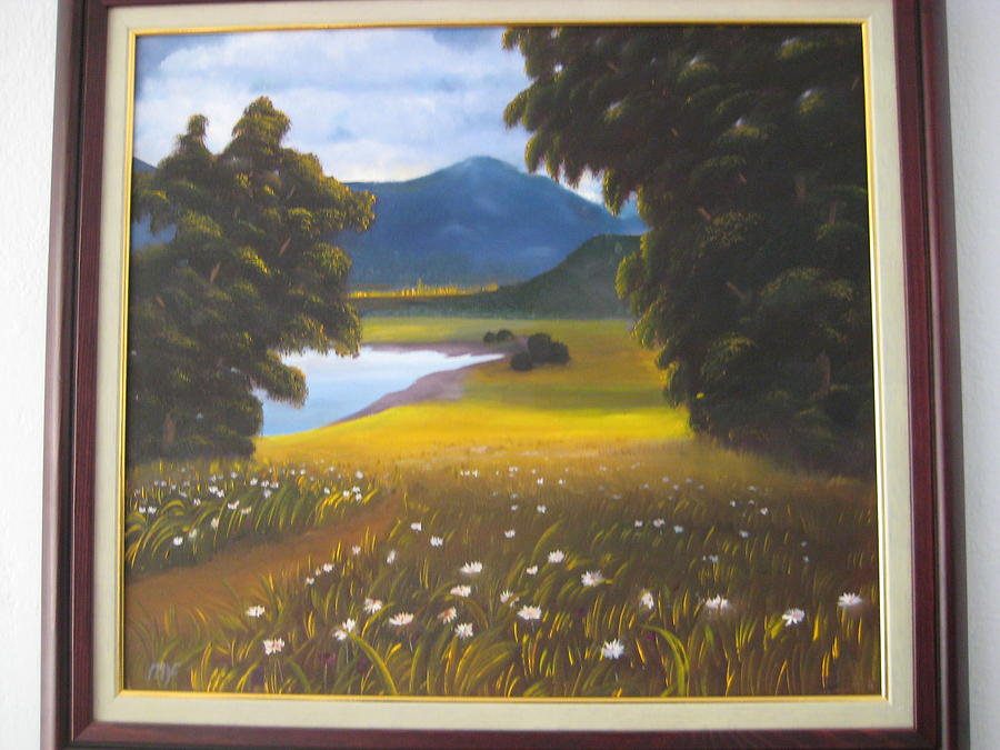 Landscape Painting - Daisies by Metin Yucefaydali