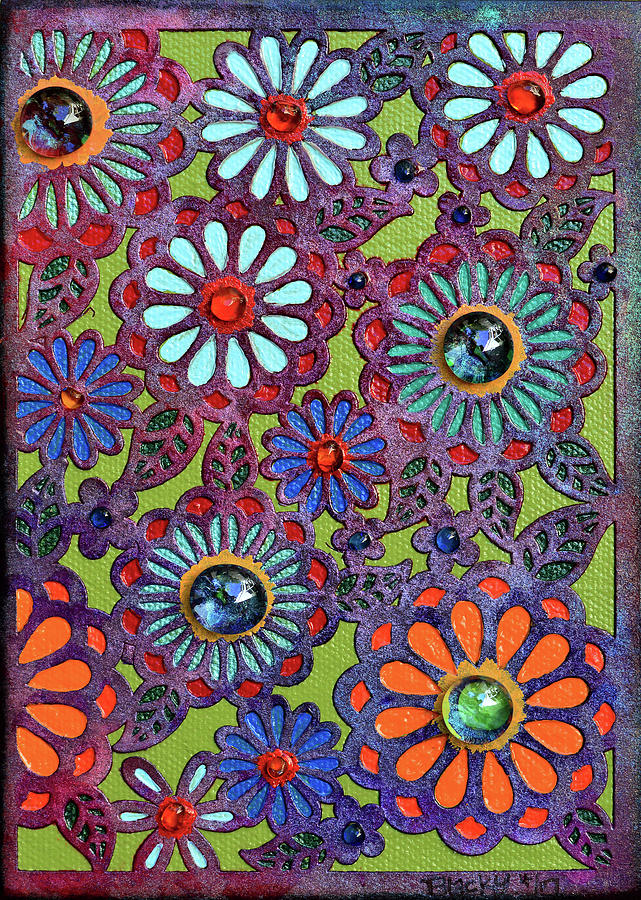 Floral Mixed Media - Daisies Of Terabithia by Donna Blackhall