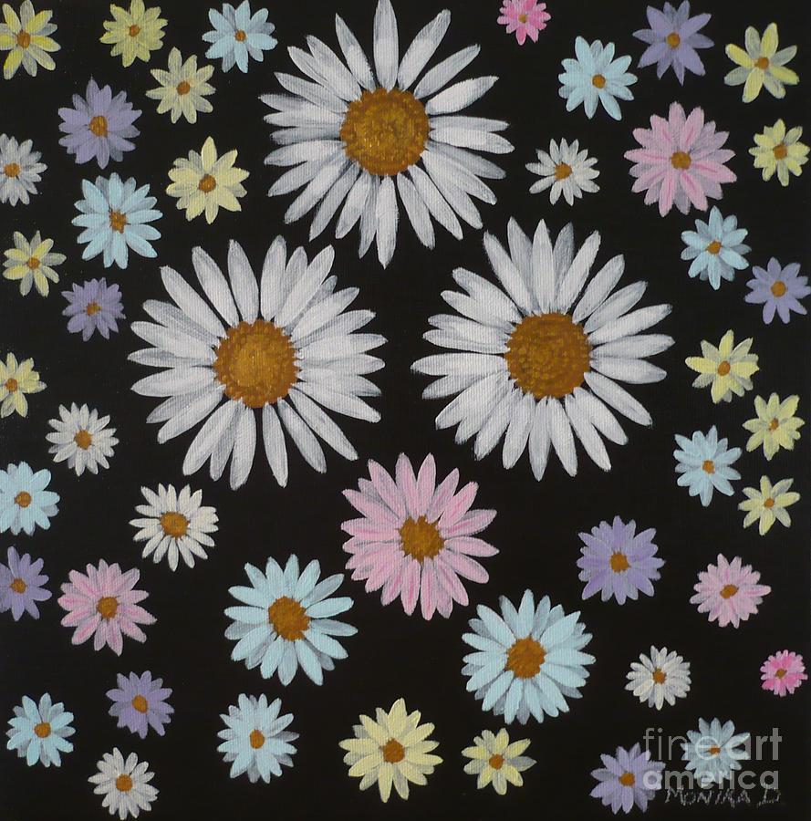 Daisy Painting - Daisies On Black by Monika Shepherdson