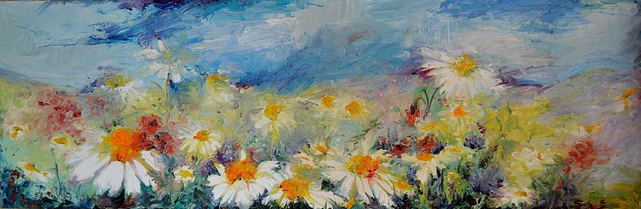 Daisies spring field white flowers on the sky painting by soos daisies painting daisies spring field white flowers on the sky by soos roxana gabriela mightylinksfo