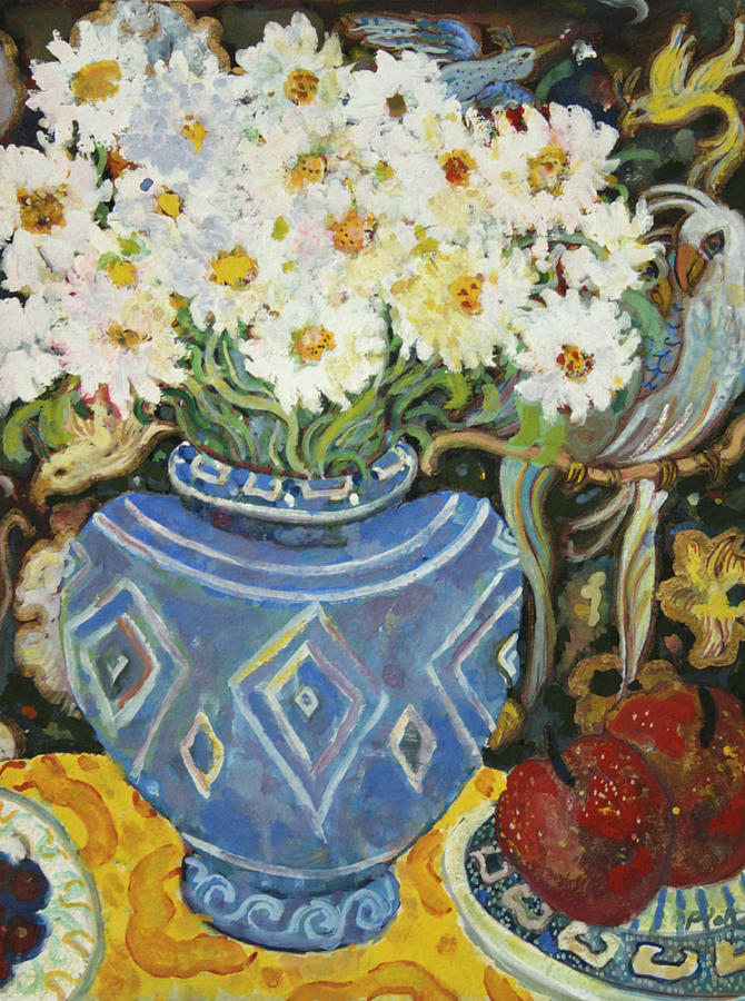 Still Life Painting - Daisies With Bird Screen by Lorraine Platt