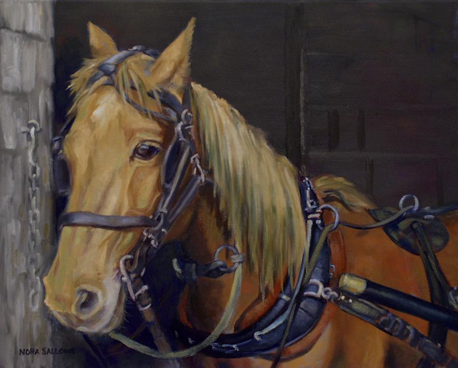 Carriage Horse Painting - Daisy a Carriage Horse by Nora Sallows
