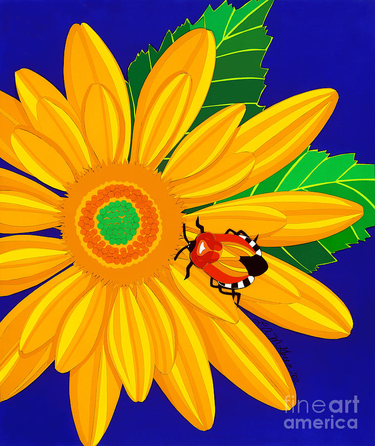 Nature Drawing - Daisy And Shieldbug by Lucyna A M Green