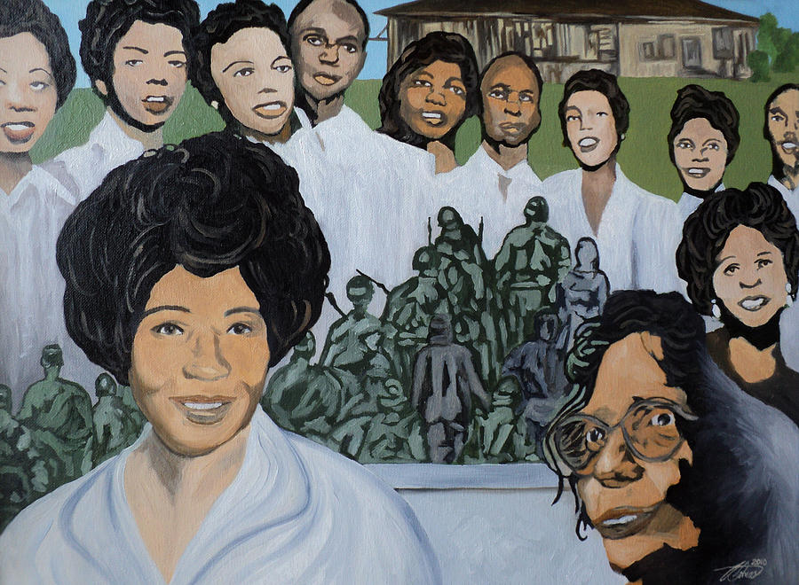 African American Painting - Daisy Bates And The Little Rock Nine Tribute by Angelo Thomas