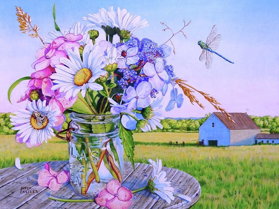 Daisy Bouquet, Maine Farm Landscape, Flowers, Barn, Dragonfly ...
