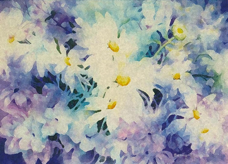 White Daisies Painting - Daisy-chain by Nancy Newman