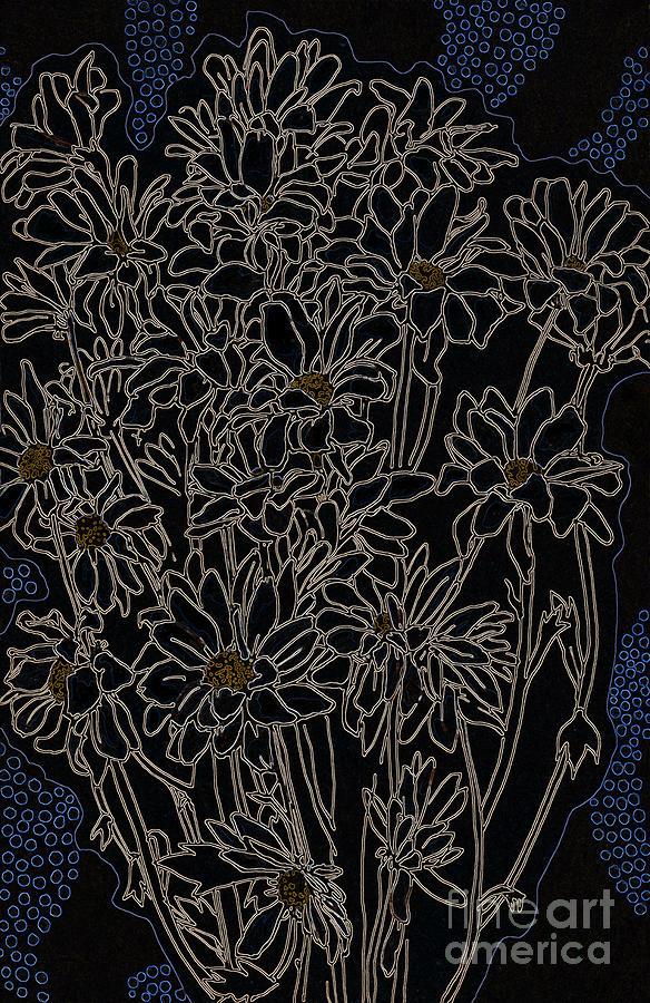 Daisy Chrysanthemum, Black Digital Art