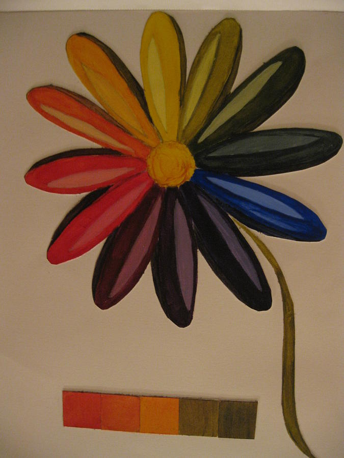 Daisy Color Wheel Painting by Jennifer Jones