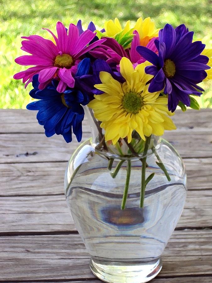 Daisy In A Vase Photograph - Daisy Crazy by Angelina Vick